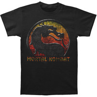 Mortal Kombat Men's  Retro Distressed Logo T-shirt Black Rockabilia