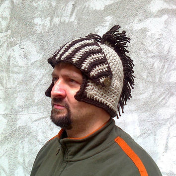 Crocheted Knight Helmet Hat With Movable Visor , Slouch Mens Brown Convertible Beanie Hat Bicycle Winter Men Snowboard Ski Hat Spartan