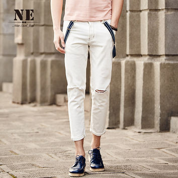 Summer Men's Fashion Stylish Casual Pants Ripped Holes Cropped Pants [7951229315]