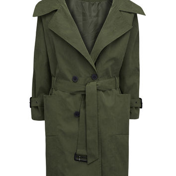 Army Green Belt Waist Split Back Trench Coat