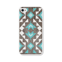 Geometric Apple iPhone 5 Case - Plastic iPhone 5 Cover - Wood Tribal Southwest iPhone 5 Skin - Turquoise Brown White Cell Phone For Him