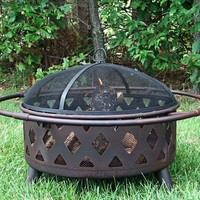 "Bronze Crossweave Wood Burning Fire Pit - 30"" Diameter"