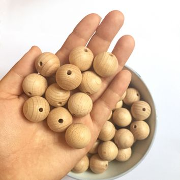 NEW 50PCS 20mm Beech Wooden Beads Round Natural Beech Beads DIY Craft Jewelry Accessories Unfinished Wood Beads High Quality