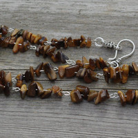 Tiger Eye Necklace ~ Men's Stone Necklace ~ Unisex Jewellery ~ Meditation Stones ~ Natural Chip Stones ~ Semi Precious Stones ~ Gift for Him