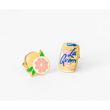 La Queen and Grapefruit Mismatched Stud Earrings