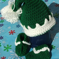 Holiday Special Crocheted 0-6 Months Baby Elf Set Crocheted Ready to Ship