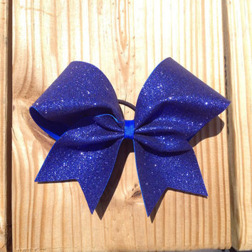 royal blue glitter cheer bow
