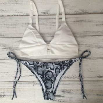 Sexy white top and scale bottom chest holes two piece bikini