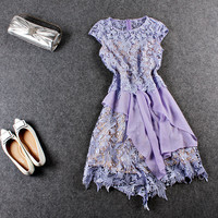 Purple Lace Embroidered Sleeveless Asymmetrical Midi Dress