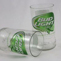 Bud Light Lime Drinking Glasses, from Recycled Beer Bottles, 8 oz