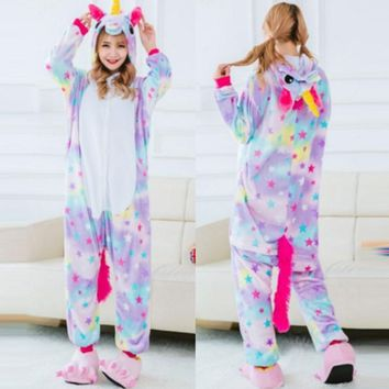 2017 Winter Warm Casual Party Wear Cartoon Unicorns Unisex Adult Pajamas Kigurumi Animal Cosplay Sleepwear Couples Home Clothes