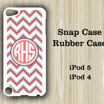 Fashion Chevron Monogram iPod Touch 5 and iPod Touch 4 Rubber Case or Plastic Case