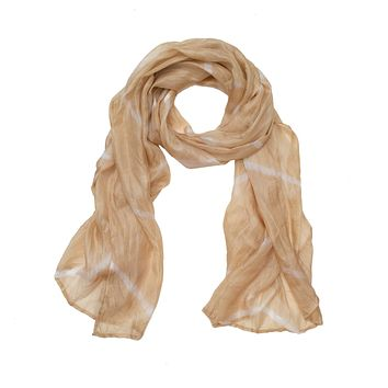 Cream Dyed Silk Scarf