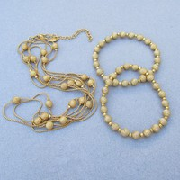 "1990's Joan Rivers Gold Tone Bead & Chain 60"" LONG Necklace & 2 Stretch Bracelets Set"