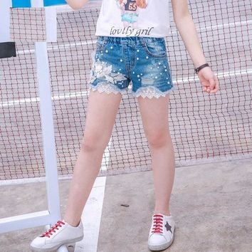 Hot Shorts High Quality Girls Jeans  Summer 2018 Kids Lace Flower Style Ripped Jeans  Pearl Design Denim Panties for TeenageAT_43_3