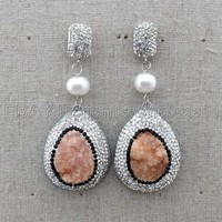 E112914 White Pearl Druzy Agate Earrings