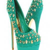 Sea Green Gold Faux Suede Studded Hardware Platform Color Sole Heels @ Amiclubwear Heel Shoes online store sales:Stiletto Heel Shoes,High Heel Pumps,Womens High Heel Shoes,Prom Shoes,Summer Shoes,Spring Shoes,Spool Heel,Womens Dress Shoes,Prom Heels,Prom