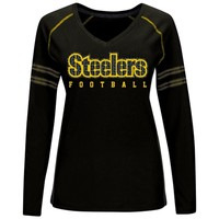 Pittsburgh Steelers Majestic Women's Deep Fade Route Long Sleeve T-Shirt – Black