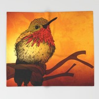 The Sunset Bird Throw Blanket by Texnotropio