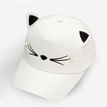 QIYIF cute korean baby summer hat ears cat white cotton canvas beach hats kids girls soild color casual style adjustable style