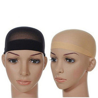 2x Elastic Unisex Stocking Wig Liner Cap Snood Nylon Stretch Mesh Black Beige HC