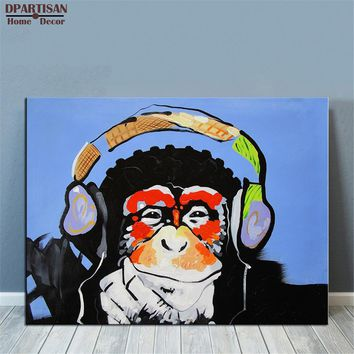 DPARTISAN  idea creative wall pictures oil painting print canvas top decor wall art for wall painting no frame DJ monkey picture