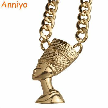 ac spbest Anniyo Egyptian BIG Queen Nefertiti Pendant THICK Necklace Jewelry Egypt Necklaces for African Gift #096706