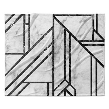 "KESS Original ""Black Marble Mosaic"" Geometric Modern Fleece Throw Blanket"