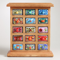 Handmade Ceramic Drawer Wood Chest - World Market