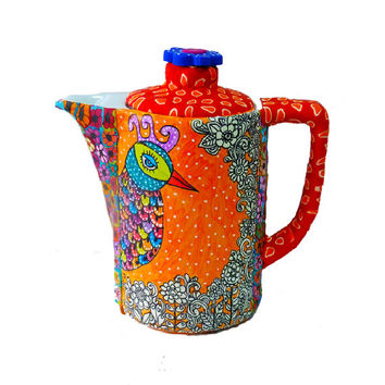 Housewares-kitchen-Teapot- polymer clay-Whimsical -Serving