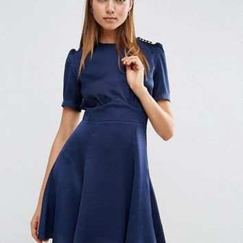 ASOS Short Sleeve Satin Tea Dress With Roleaux Buttons at asos.com