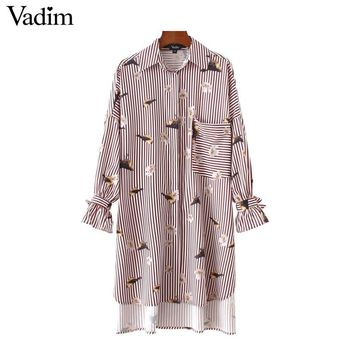 Birds Floral Pattern Striped Over Sized Long Shirts Loose Bot Tie Sleeve Pocket Side Split Casual Chic Blouse Tops