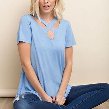 Bamboo knit top with criss cross thick band neckline