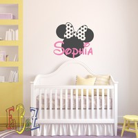 Personalized Baby Name Wall Decal Minnie Mouse Custom Decals Murals Cartoon Vinyl Stickers Children Kids Girls Room Nursery Bedroom Wall Art Decor M063