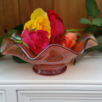 Vintage Marigold carnival glass candy dish 1920s/ Fenton/Dugan/amber carnival glass dish/ Christmas gift / Ships worldwide from UK