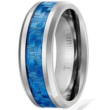 CERTIFIED 8MM Engagement Ring Light Blue Carbon Fiber Inlay | Beveled Edges