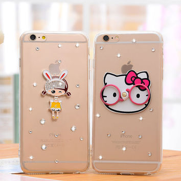 Cartoon Rhinestones Apple iPhone 5/5S Silica Gel Phone Case iPhone 6/6SPlus  Transparent Stent Phone Case Shell