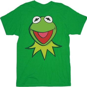 The Muppets Kermit the Frog Face and Collar Adult Green T-shirt