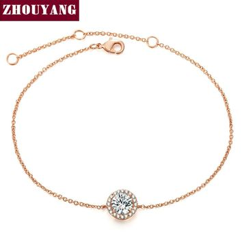 Round Micro Mosaic Cubic Zirconia Rose Gold Color Bracelet