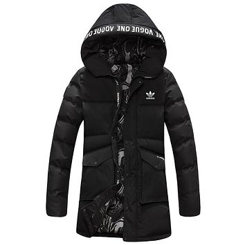 ADIDAS Clover 2018 winter new women's fashion trend in the long down cotton cotton clothing Black