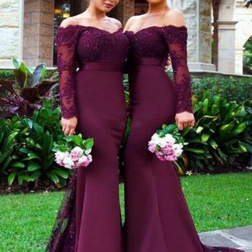 Custom Made Off Shoulder Maroon Long Sleeves Lace Prom Dresses, Burgundy Lace Bridesmaid Dresses, Formal Dresses