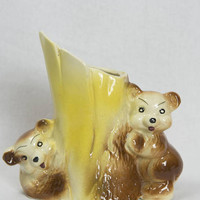 Vintage Bears and Tree Planter Baby Animal Planter Vase Adorable