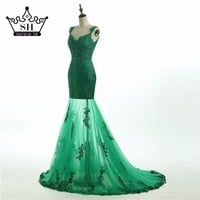 Sexy Arabic Green Mermaid Prom Dresses 2017 Off Shoulder Backless Beaded Lace See Through Party Gown Dubai Robe De Soiree
