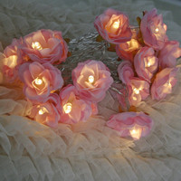 Sugar Pink Shabby Rose Fairy Lights Pretty Flower String Lighting Nursery Baby Shower Decor