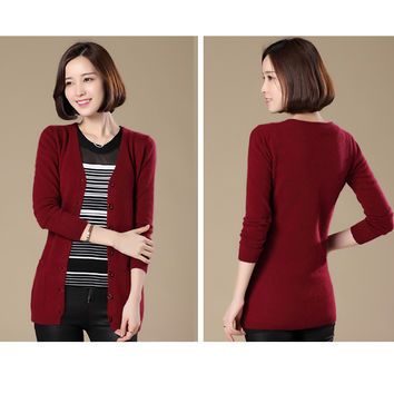 V-neck Women Wool Knitted Pocket Cardigan