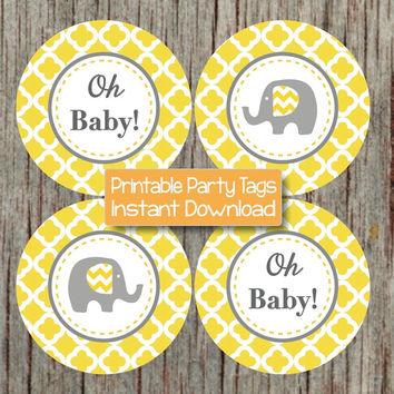 Elephant Yellow Grey Quatrefoil Cupcake Toppers Baby Shower Decorations Printable Party Oh Baby! Elephant diy Tags INSTANT DOWNLOAD 146