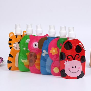 360 ml Eco Friendly Foldable Cartoon Animal Water Bag Travel Drink Bottle Safe for Kids Children Gift