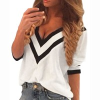 Casual Deep V Neck Splicing Blouses