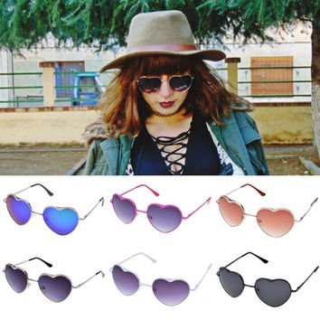 Casual Fashion Cool Unisex Heart Shape Frame Sunglasses Eyewear 6 Colors