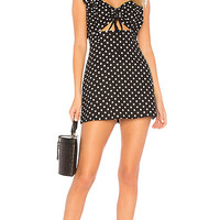 MAJORELLE Evie Mini Dress in Black Dot